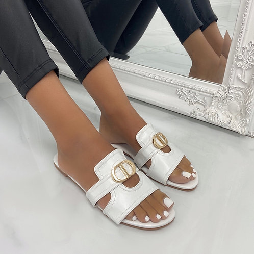 Didi - White With Gold Detail Slip On Flat Sandals