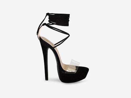 Tarsha - Black Faux Suede Tie Up Platform Heel