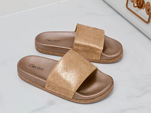 Jade- Rose Gold Diamante Sole Slider Sandal