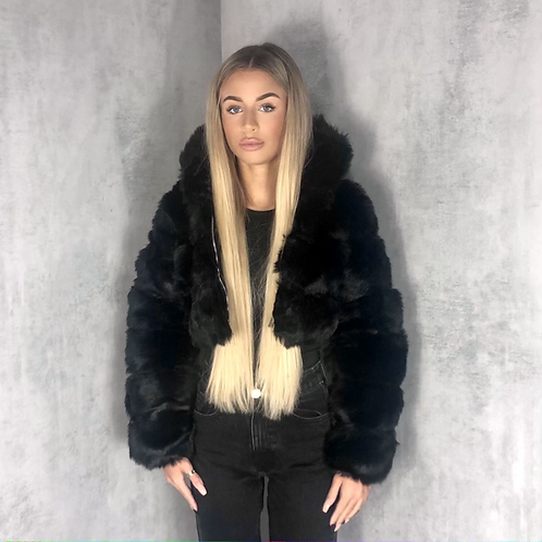 Nella - Black Faux Fur Ribbed Hooded Zip Up Cropped Jacket
