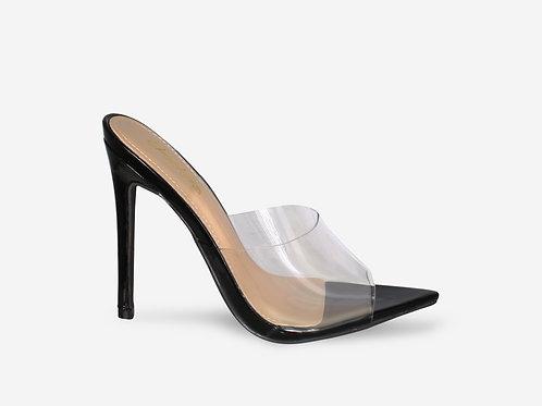 Maddie - Black Patent Pointed Toe Perspex Peep Toe Heel