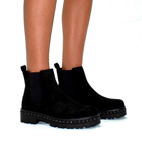 Alissa - Black Faux Suede with Gusset Studded Detail Outsole Chunky Ankle Boots