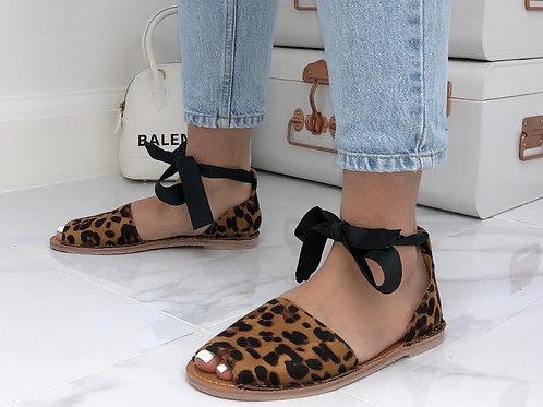 Aariya - Leopard Print Faux Nubuck Tie Up Flat Peep Toe Sandal