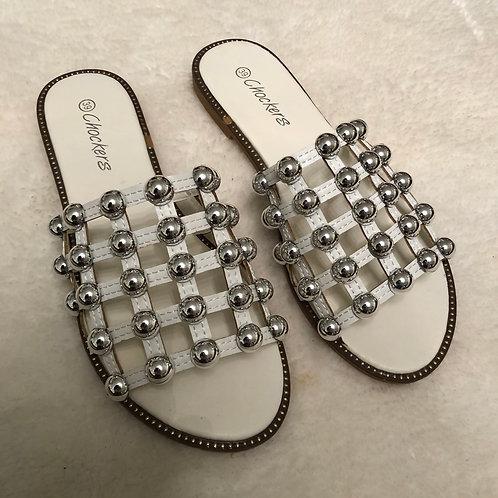 Elouise - White Silver Ball Slider Sandals