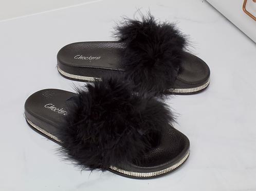 Lydia - Black Vegan Fur Fluffy Sliders With Diamanté Sole