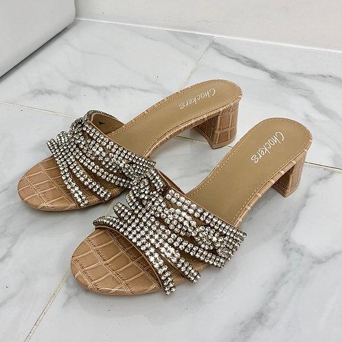 Regina - Nude Patent Croc Print with Silver Diamante Detail Low Block Mule Heels