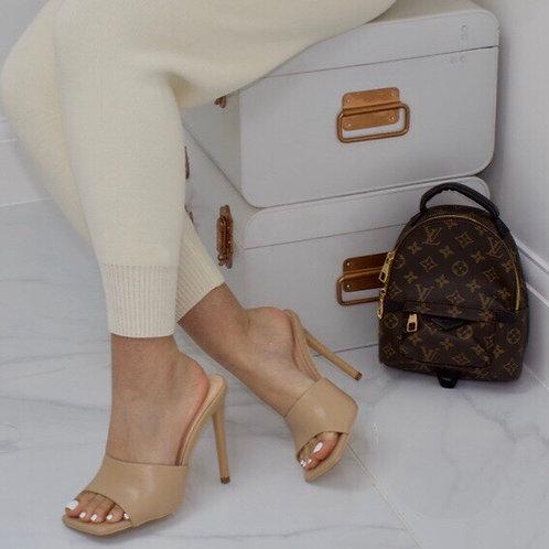 Amber - Nude Square Toe Stiletto Heel