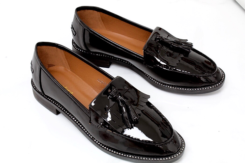 Victoria - Black Patent Diamante Sole Tassel Loafer