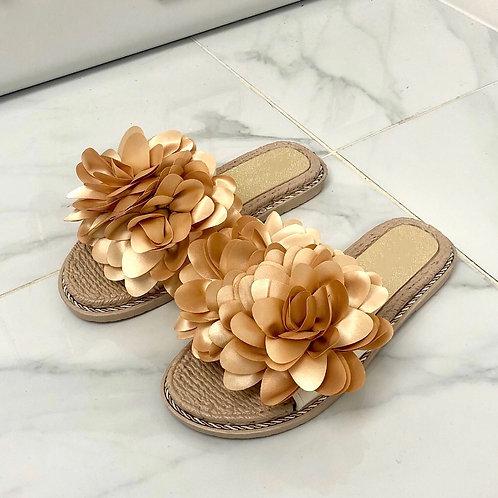 Tilly - Nude Flower Rope Detail Woven Sole Flat Slip On Slider Sandals