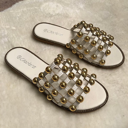 Elouise - White Gold Ball Slider Sandals
