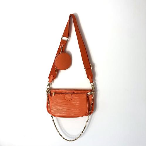 Orange Double Pouch Mini Pocket Gold Detail Cross Body Bag