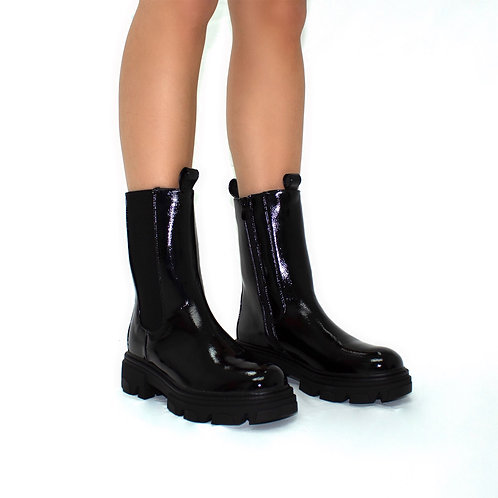 Perrie - Black Patent With Elasticated Gusset Mid Length Boots