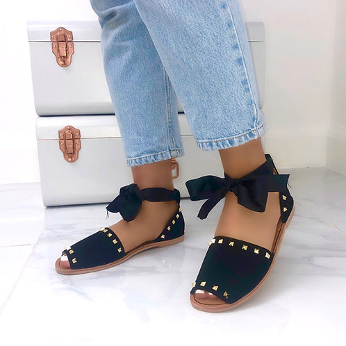 Charlie - Black Studded Tie-Up Flat Sandals