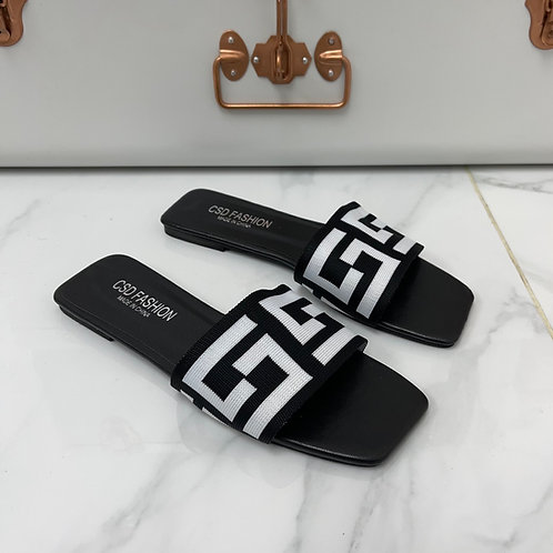 Gigi - Black with White Print Band Slip On Flat Sandals