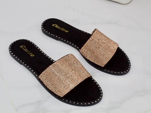 Alex - Gold Diamanté Black Faux Nubuck Slider Sandal