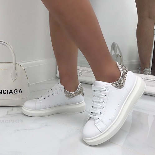 Tokyo - White with Silver Glitter Lace Up Chunky Sole Trainer