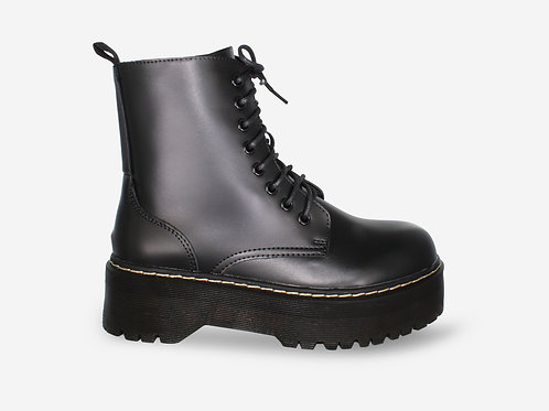 Ali - Black Faux Leather Chunky Sole Lace Boot