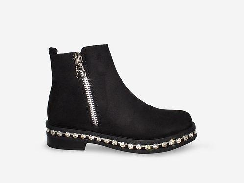 Courtney - Black Faux Suede Silver Diamanté Sole Ankle Boot