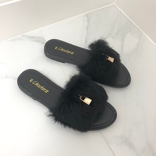 Fenty - Black Fluffy Gold Padlock Slip On Toe-Post Slider Sandals