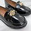 Thumbnail: Baby Naomi- Black Patent with Gold Detail Flat Loafer