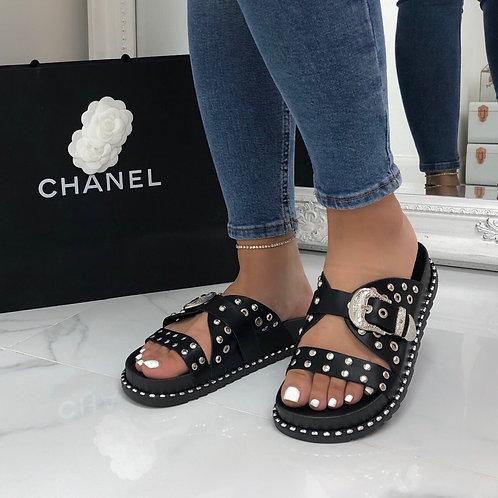 Miley - Black with Silver Detail Biker Style Flat Slip On Slider Sandals