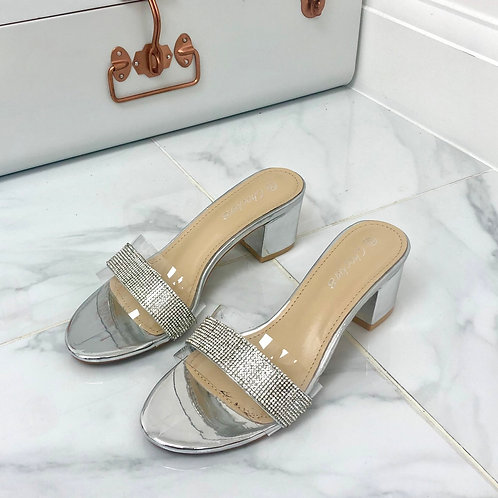 Emilie - Silver Perspex Diamante Strip Low Block Heel