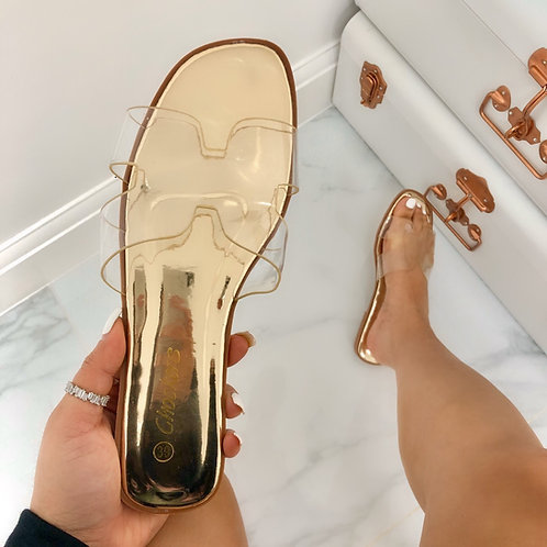 Chloe - Perspex H Style Gold Metallic Flat Sandal