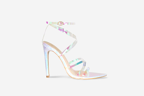 Katie - Iridescent Croc Print Pointed Toe Strappy Heel