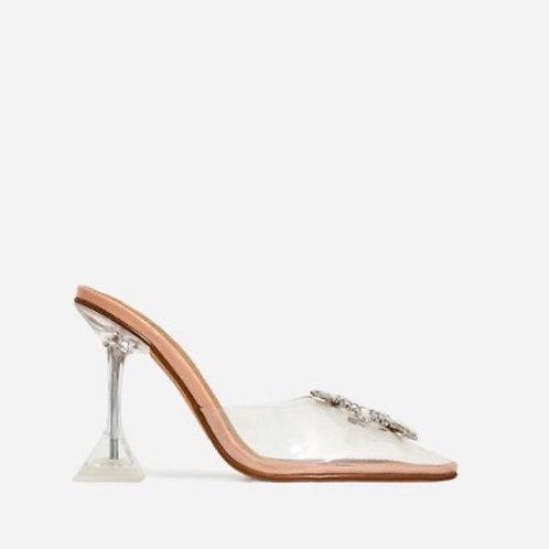 Giselle - Nude Patent Perspex Diamante Detail Heel Mule