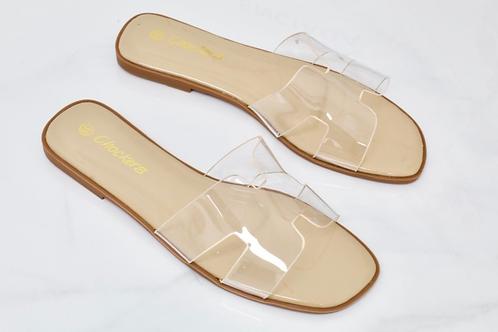 Chloe - Perspex H Style Nude Patent Flat Sandal