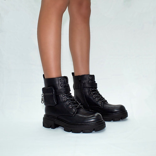 Rita- Black Faux Leather Mini Pocket Pouch Lace Up Chunky Sole Boots