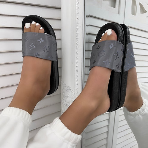 Kayla - Grey Stain Print Sliders