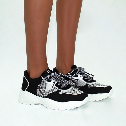 Lacey - Black Faux Suede with Snake Print White Chunky Sole Trainers