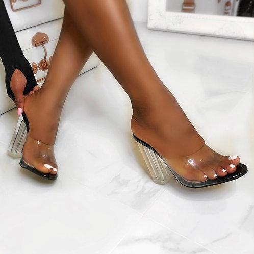 Joanne - Black Patent Peep Toe Perspex Block Clear Heel Mule