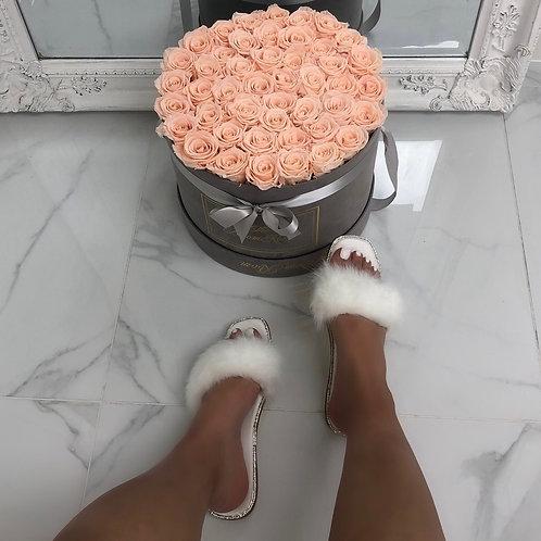 Sofia - White Fluffy Diamante Sole Slip-On Flat Sandals