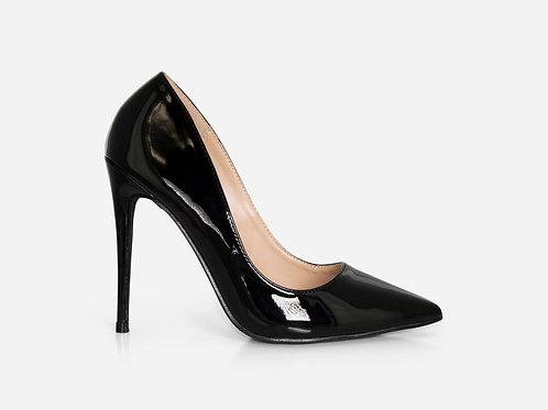 Zoe - Black Patent Stiletto Court Heel