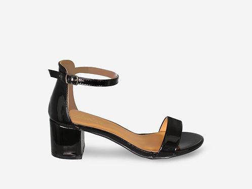 Rebecca - Black Patent Strap Low Block Heel