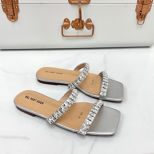 Vibe - Silver Double  Strap Jewel Detail Square Toe Slip On Sandals
