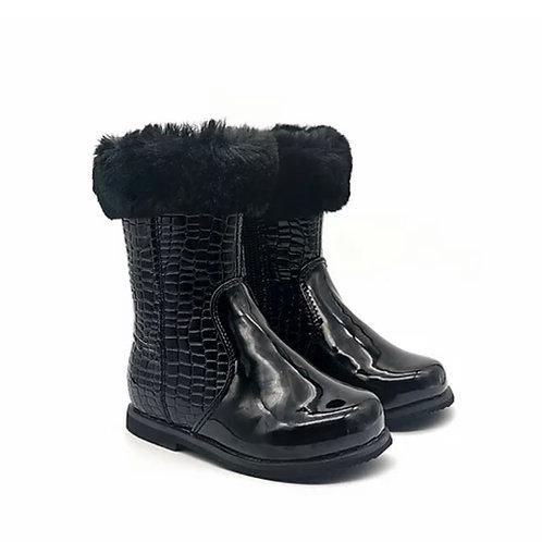 Marielle - Black Patent Croc Print with Black Fur Ankle Boot