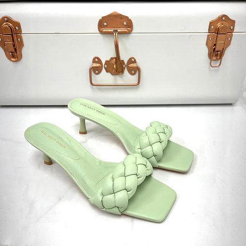 Shanice - Sage Woven Detail Square Toe Low Mule Heels