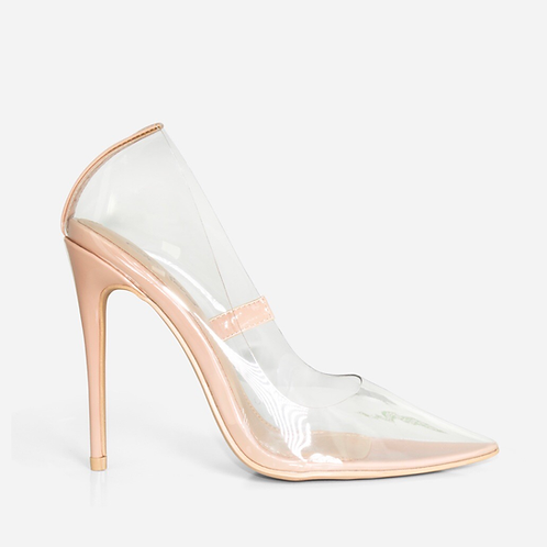 Kimmy - Nude Patent Perspex Court Stiletto Heel
