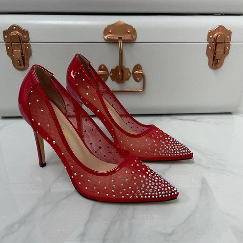 Sofia - Red Patent Mesh Diamante Pointed Toe Heels