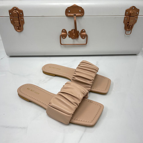 Persia - Nude Ruched Square Toe Flat Sandals