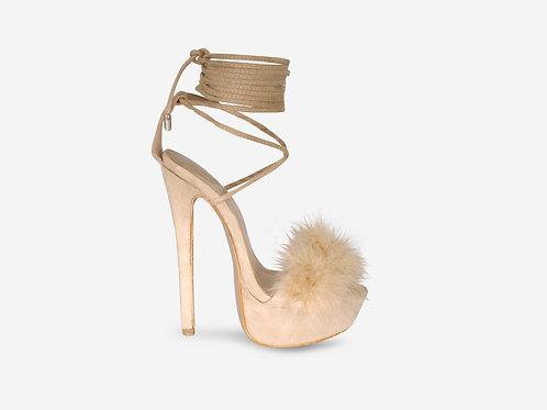 Veronica – Nude Faux Suede Fluffy Tie Up Platform Heel