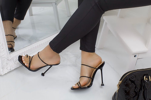 Erin - Black Barely There Strappy Mule Heel