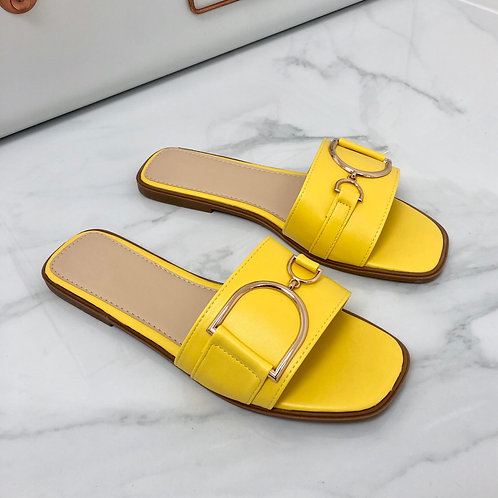 Delilah - Yellow with Gold Interlocking D Chain Flat Square Toe Slip On Sandal