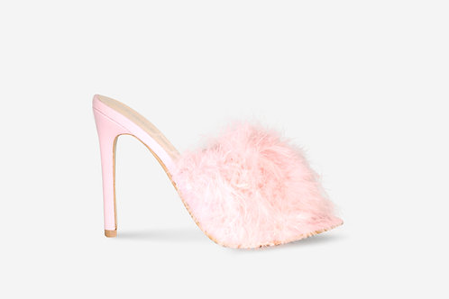 Nancy - Pink Faux Suede Fluffy Heel