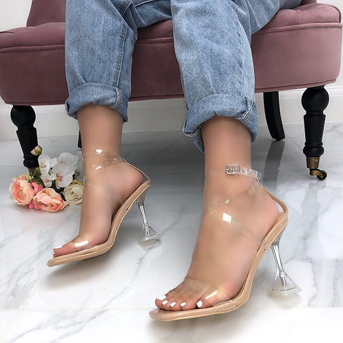 Savannah - Nude Strappy Barely There Clear Pyramid Mule Heel