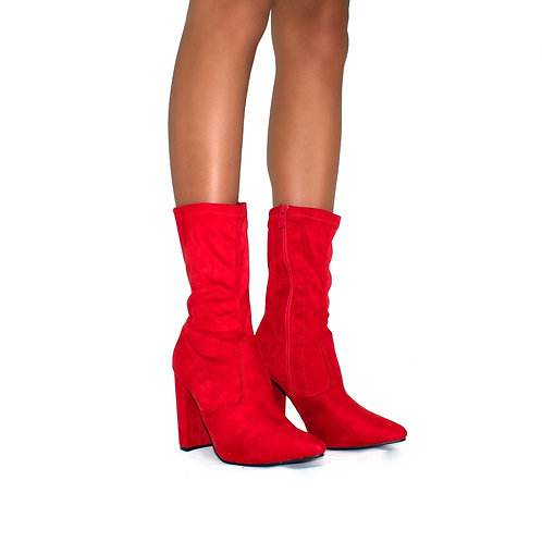 Gracie - Red Faux Suede Pointed Toe Block Heel Ankle Boots