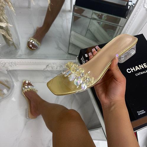 Nene - Gold with Crystal Detail Low Mule Slip On Heels